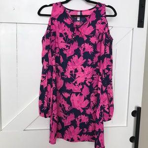 Xhilaration cold shoulder navy/pink dress